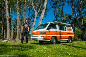 """Mit unserem Miet-Camper """"Paul"""" bei Christchurch, Neuseeland"""