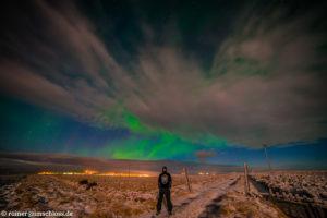 Nordlicht über Laugarbakki auf Island