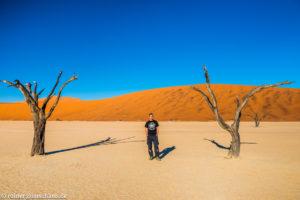 Zwischen den abgestorbenen Akazienbäumen im Dead Vlei, Namibia
