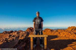 Auf dem Gipfel des Piton des Neiges (3070 m) auf Réunion